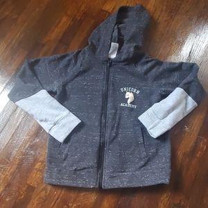 Girls full zip unicorn hoodie size medium